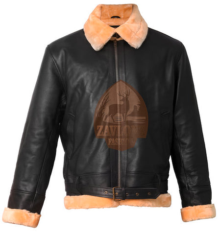 Genuine Real Leather Jacket Men Bane Artificial Fur