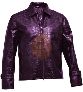 Alligator Style Men Purple Biker Motorcycle Faux Leather Jacket 2020