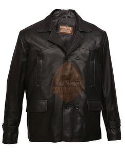 German Submariner WW2 Vintage Men's Black Leather Jacket Coat