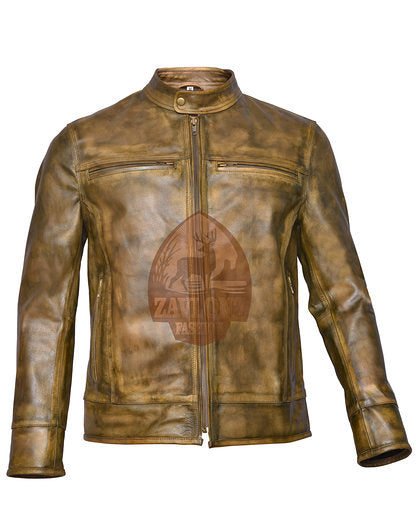 Retro Moto Distressed Leather Jacket Triple Stitch
