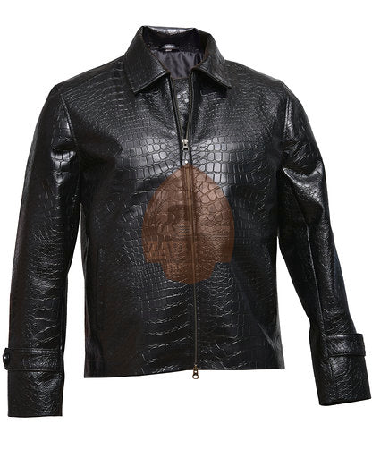 New Men's Alligator Style Black Biker Motorcycle Faux Leather Jacket