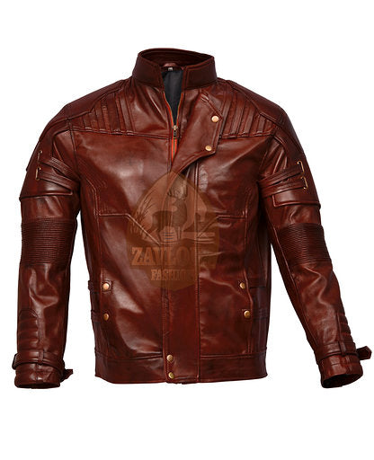 Leather Biker Jacket Costume GoG Vol 2 Maroon and Black