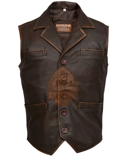 Genuine Leather Vest - Men's Hell on Wheels Celebrities