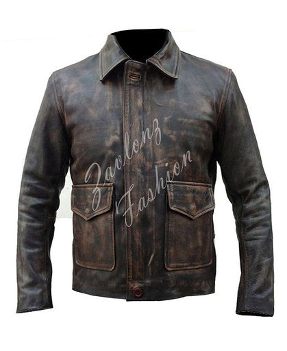 Distressed Genuine Leather Jacket