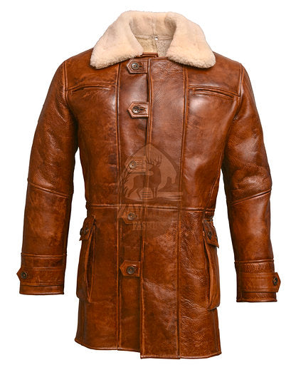Brown Bane Coat Real Leather Jacket Batman Dark Knight