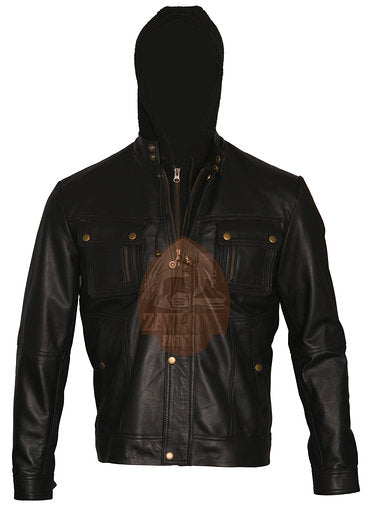 Genuine Leather Biker Jacket with Hoodie