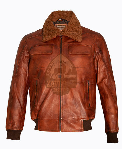 B3 Bomber Rust Tan Brown Removable Fur Collar aviator Pilot Leather jacket