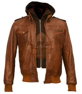 Cafe Racer Genuine Leather Distressed Brown Vintage Hoodie