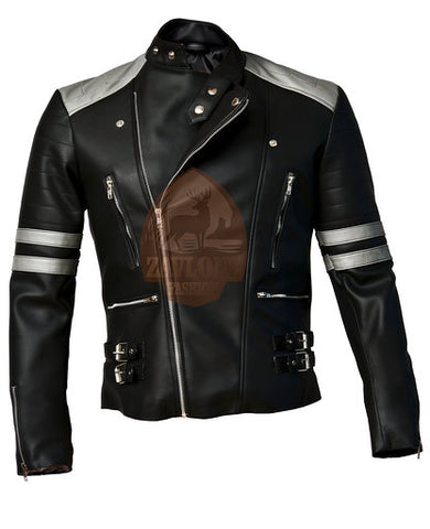 Brando Black & Grey Genuine Leather Biker Jacket