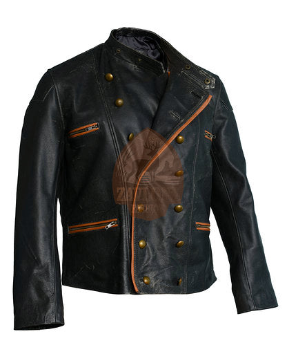 Distressed Black Real Leather Motorbike Jacket Buttons