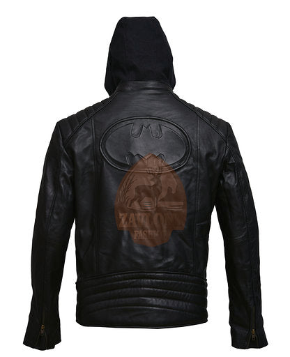 Real Leather Hoodie Jacket Detach Hood New Batman Logo Brando