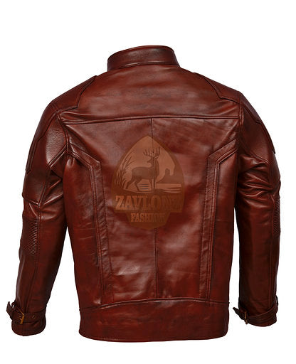 Leather Biker Jacket Costume GoG Vol 2 Black and Maroon