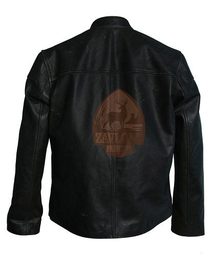 Real Leather Motorbike Jacket Buttons