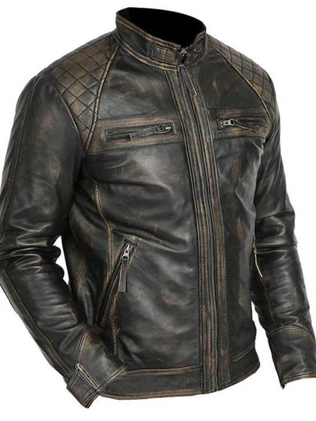 Stand Collar Standard Leather Jacket