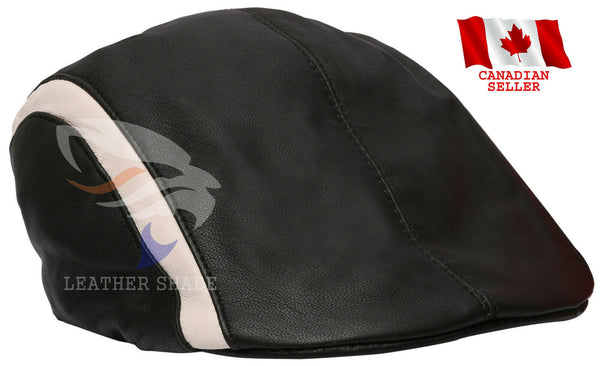 Newsboy Flat Cap Gatsby Golf Cap Real Leather Ivy Cap with Strip