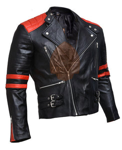 Brando Black & Red Genuine Leather Biker Jacket