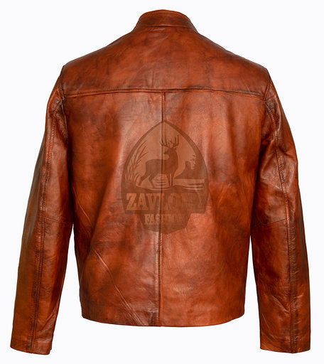 Tan Brown Real Leather Jacket Cliff Secord The Rocketeer Campbell