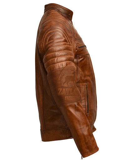 Distressed Cafe Racer Genuine Leather Jacket Brown or Black