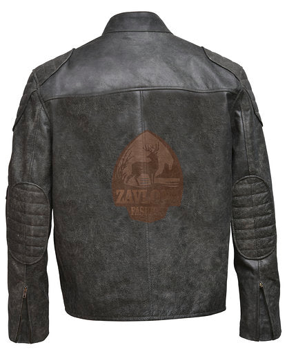 Retro Biker Distressed Real Leather