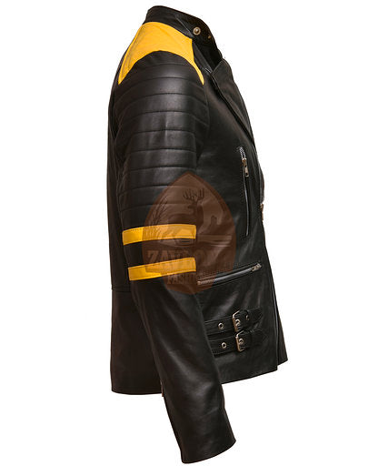 Brando Black Yellow Genuine Leather Biker Jacket