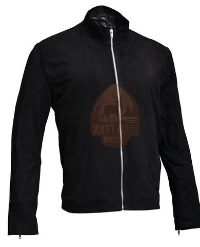 Suede Leather Jacket Black