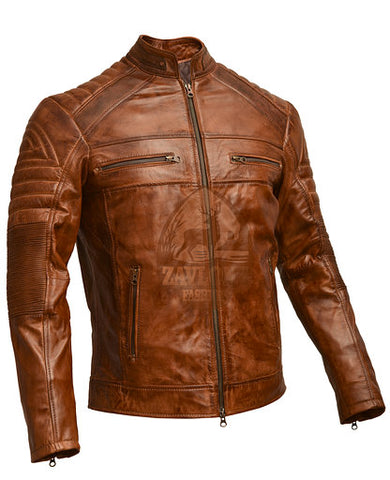 Distressed Cafe Racer Genuine Leather Jacket Brown