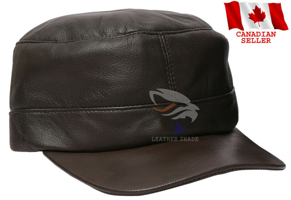 Army Style Real Leather Cadet Hat Cap Black Brown Biker Ivy Baseball Golf