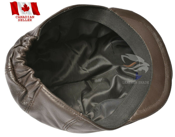 Newsboy Flat Cap Hat Real Leather Ivy Cap