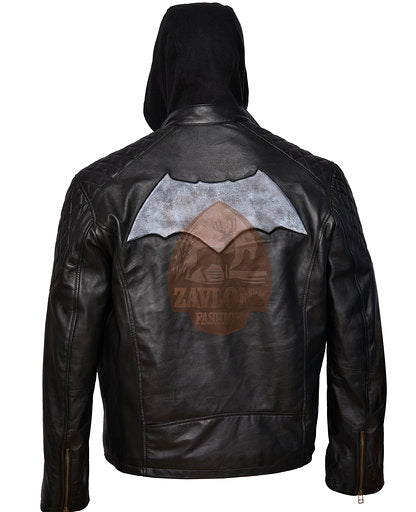 Distressed Biker Black Leather Jacket Removable Hood - Batman