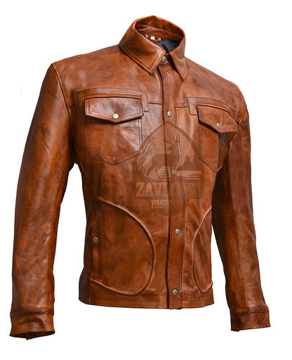 order Retro Smart Leather Biker Shirt Jacket
