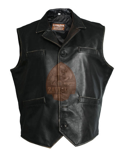 Genuine Leather Vest - Men's