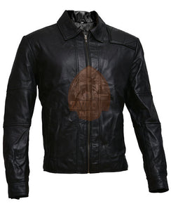 Mens Real Leather Biker Jacket