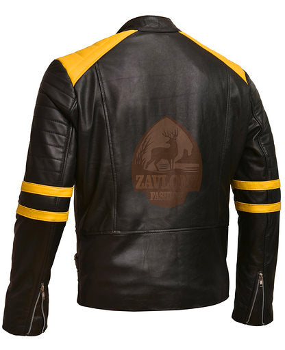 Brando Black & Yellow Genuine Leather Biker Jacket
