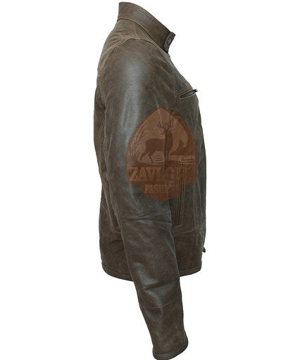 Online Retro Moto Distressed Leather Jacket Triple Stitch