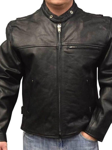 Stand Collar Plain Leather Jacket