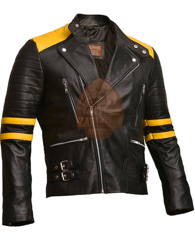 Brando Black & Yellow Genuine Leather Biker Jacket 2019