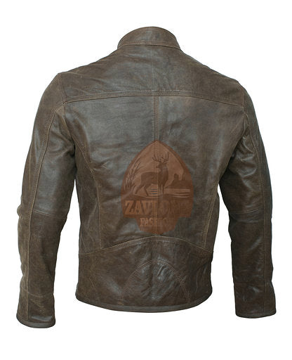 Order Online Retro Moto Distressed Leather Jacket Triple Stitch