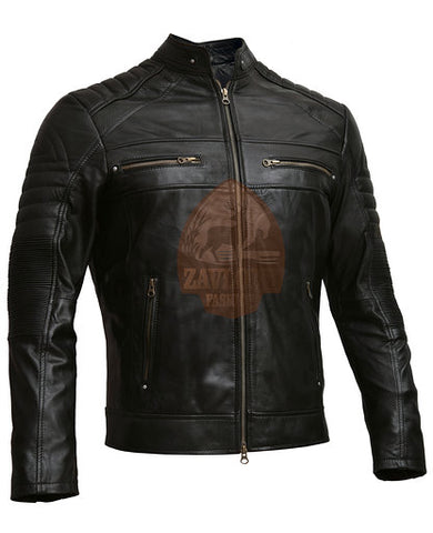 Distressed Cafe Racer Genuine Leather Jacket Black