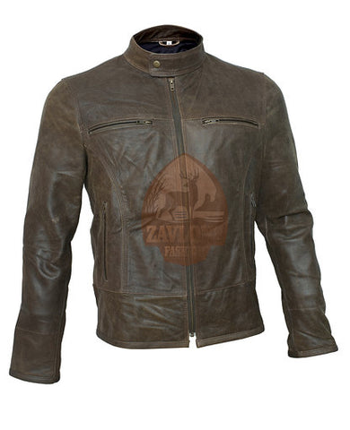 Order Retro Moto Distressed Leather Jacket Triple Stitch