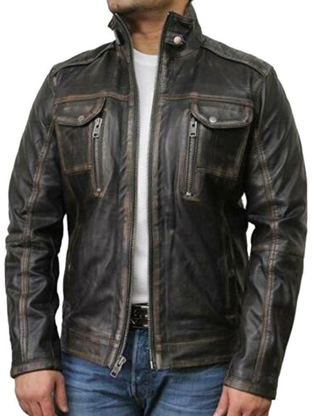 Stand Collar Plain Leather Jacket Slim Casual