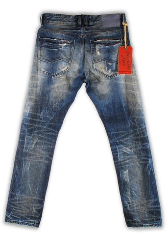 150-141M Pebbles Blue Wash Jeans - Rivet De Cru Jeans - Premium Denim - Mens Fashion - Mens Clothing - Mens Jeans - Mens Denim - 2