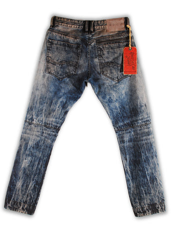 157-161T Shell Blue Wash Moto Fit Jeans - Rivet De Cru Jeans - Premium Denim
