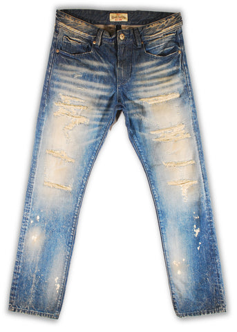 159-118MB Bleach Sand Blue Jeans(Bigs) - Rivet De Cru Jeans - Premium Denim - Mens Fashion - Mens Clothing - Mens Jeans - Mens Denim - 1