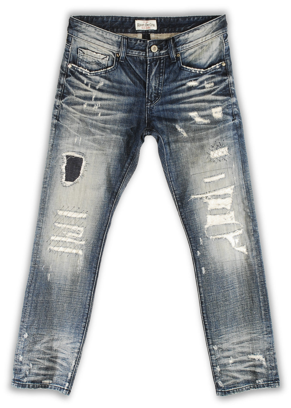 162-022M Stone Wash Blue Jeans - Rivet De Cru Jeans - Premium Denim - Mens Fashion - Mens Clothing - Mens Jeans - Mens Denim - 1