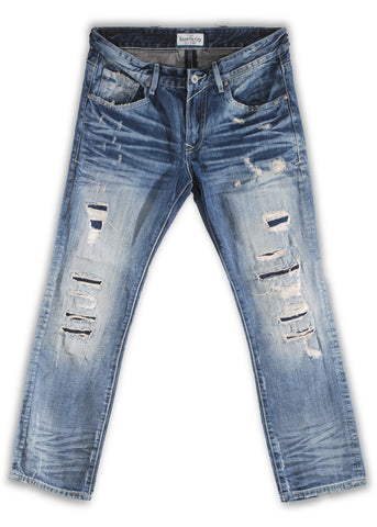 162-029M Sandblast Blue Jeans - Rivet De Cru Jeans - Premium Denim - Mens Fashion - Mens Clothing - Mens Jeans - Mens Denim - 1