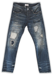 164-063M French Blue Wash Jeans - Rivet De Cru Jeans - Premium Denim - Mens Fashion - Mens Clothing - Mens Jeans - Mens Denim - 1