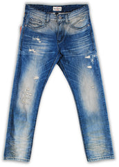 164-064M Spa Blue Wash Jeans - Rivet De Cru Jeans - Premium Denim - Mens Fashion - Mens Clothing - Mens Jeans - Mens Denim - 1