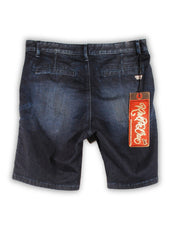 1FS-158 Indian Blue Chino Cut Denim Shorts - Rivet De Cru Jeans - Premium Denim