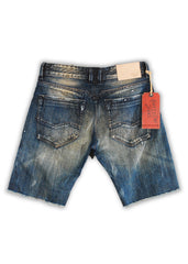 1TS-007 Vapor Blue Shorts - Rivet De Cru Jeans - Premium Denim