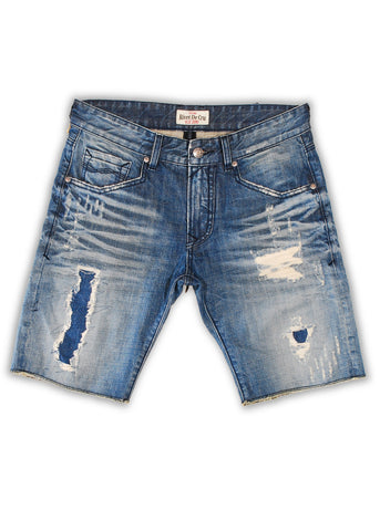 1TS-024MB Polar Blue Shorts(Bigs) - Rivet De Cru Jeans - Premium Denim